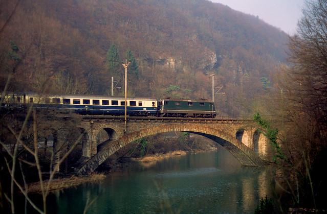 Re4/4II crossing Birsig at Liesberg BL