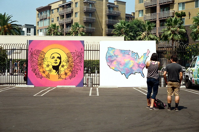 parking lot art exhibit.