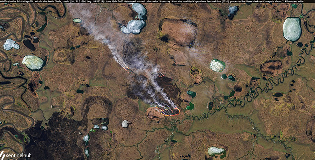 Wildfire in the Sakha Republic, within the Arctic Circle, Russia (Lat: 71.31664, Lng: 144.86229) - June 15th, 2020