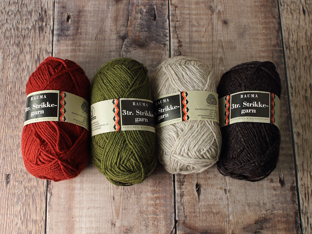 Destash yarn: Rauma 3tr. Strikkegarn pure Norwegian wool yarn set of 4 x 50g – brick red, moss green, pale grey and dark grey-brown