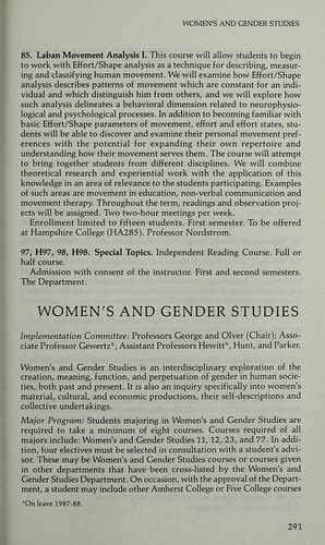 1987 Women's and Gender Studies