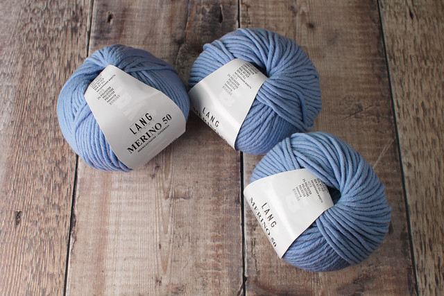 Destash yarn: Lang Yarns Merino 50 extra fine superwash chunky/bulky yarn 3 x 100g – 105 light blue
