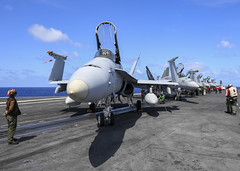 Sailors USS Nimitz (CVN 68) conduct preflight checks during operations in the Pacific, June 12. (U.S. Navy/MC2 Greg Hall)
