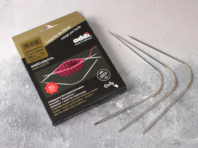 Addi Crasy Trio flexible double pointed metal needles – 2.25mm