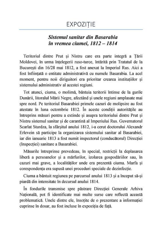 "Expoziție virtuală: ,,Sistemul sanitar din Basarabia în vremea ciumei, 1812-1814"""