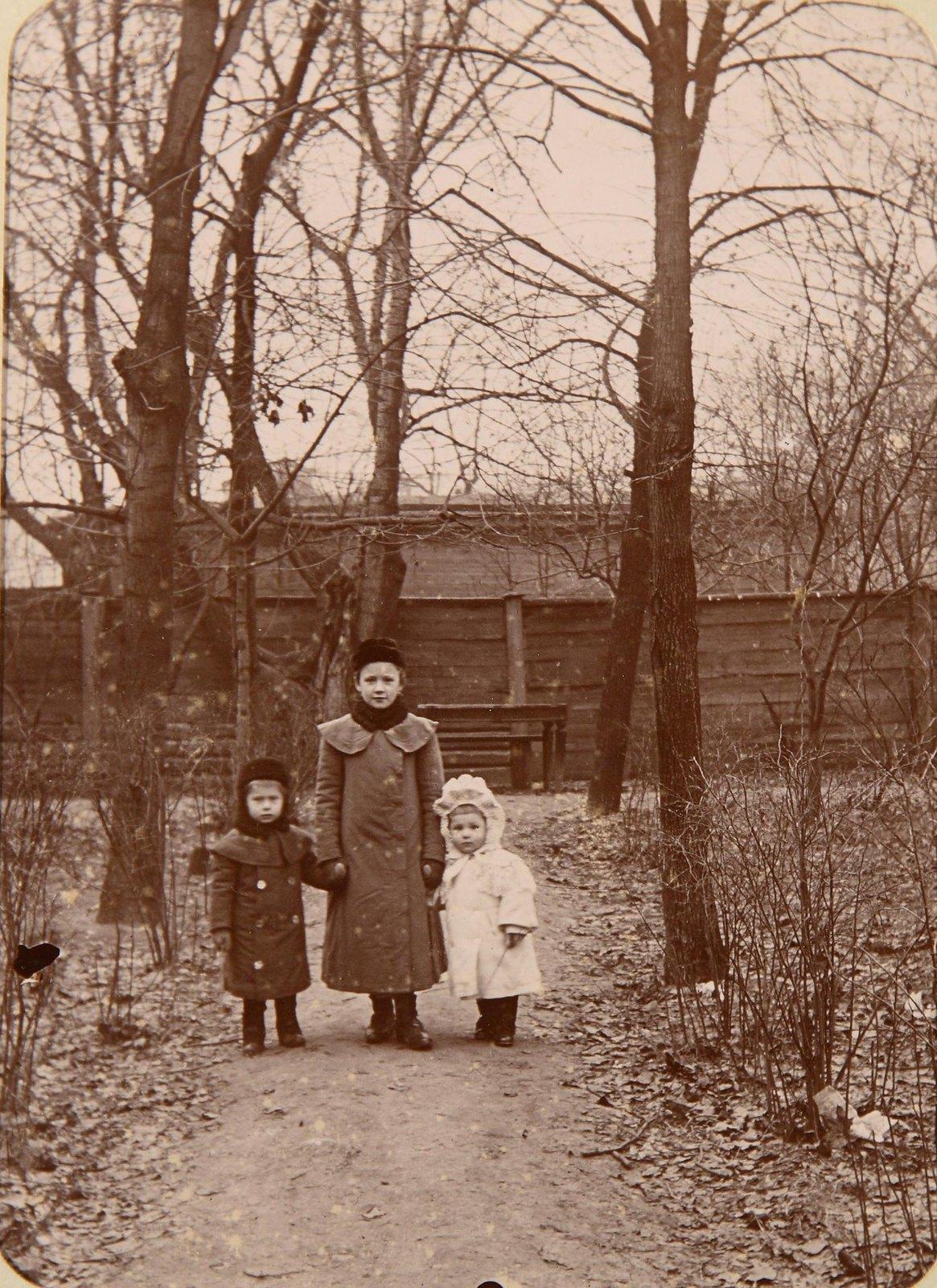 Три девочки на аллее в парке