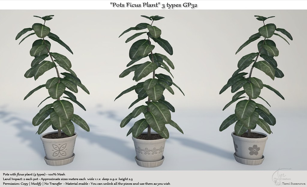 ".:Tm:.Creation ""Pots Ficus Plant"" 3 types GP32"