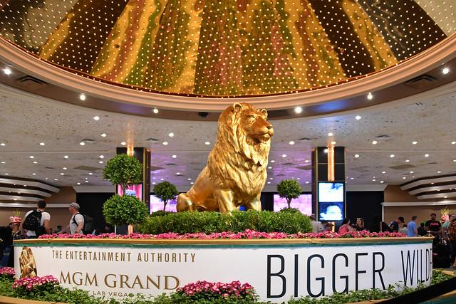 Las Vegas NV, USA 10-01-18 A small bronze replica of The MGM