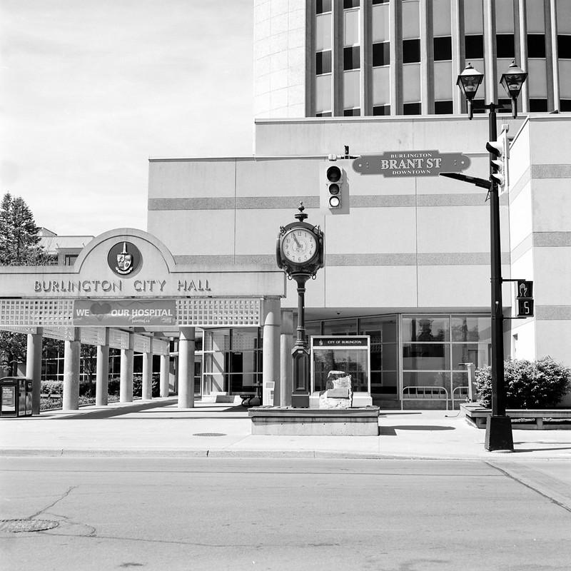 Burlington City Hall Clock and Stoplight