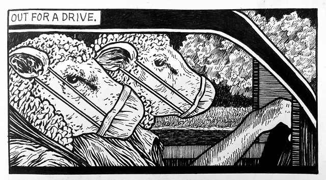 6/15/20. Out For a Drive. From my sketchbook.