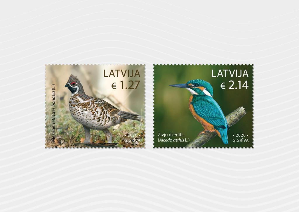 Pastmarkas Latvijas putni - Mežirbe un Zivju dzenītis - Latvijas Pasts - Flickr