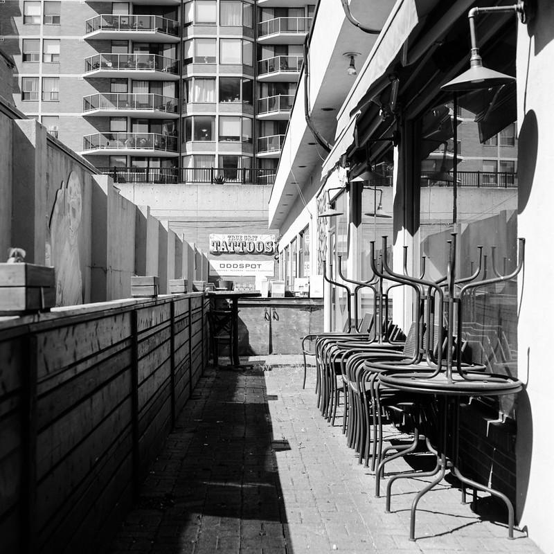 Empty Downtown Burlington Patio