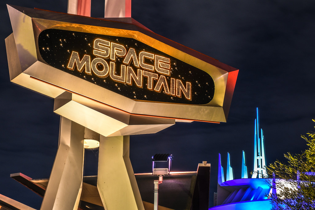 Space Mountain sign building night DL