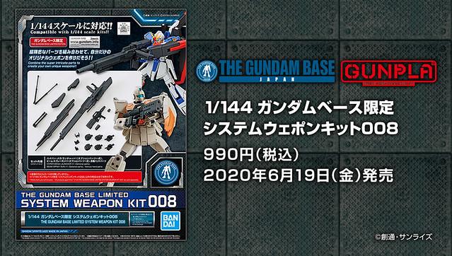 【GUNDAM BASE 限定】對應 1/144 比例鋼普拉《機動戰士鋼彈》系統武器組(システムウエポンキット)007 / 008 復刻登場!