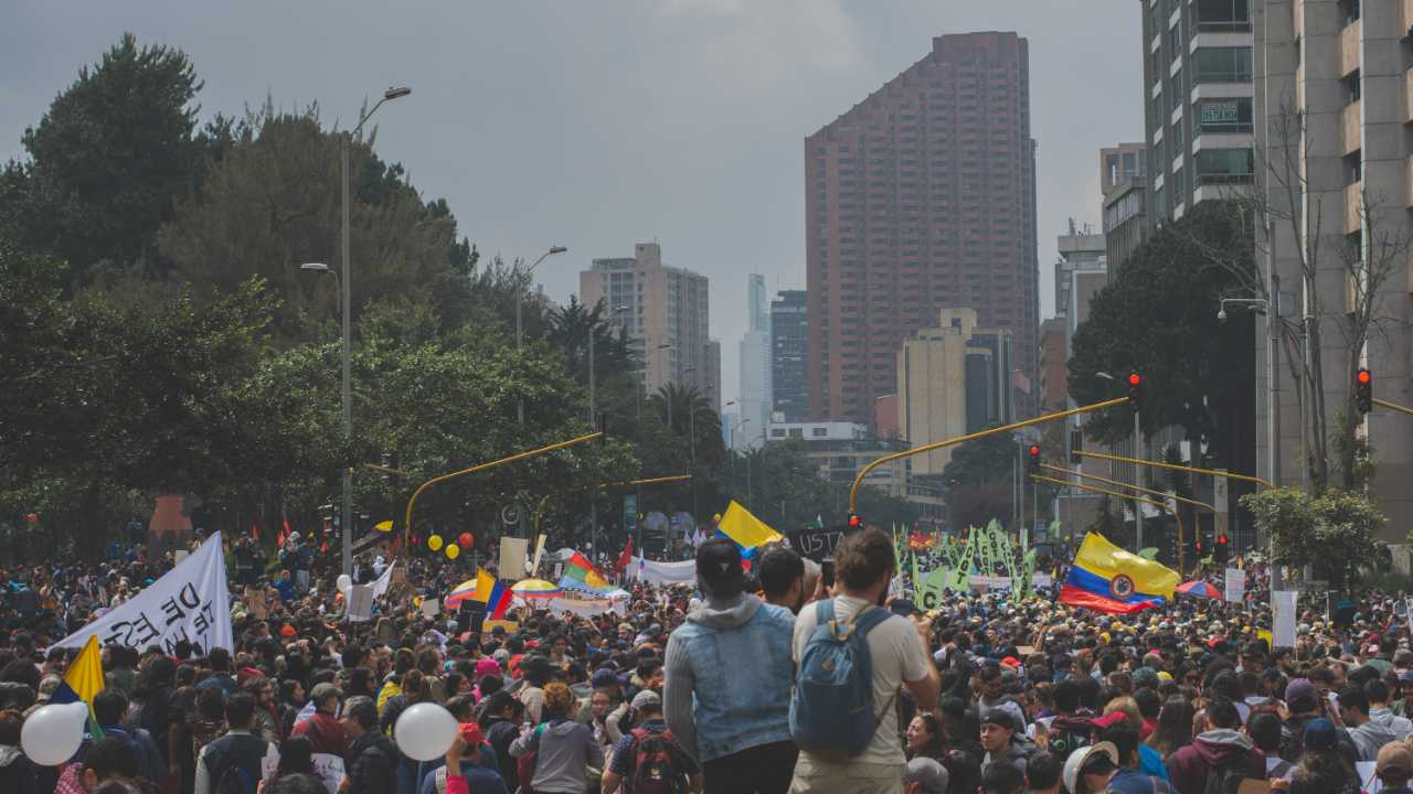 A picture of protestors marching in Latin America