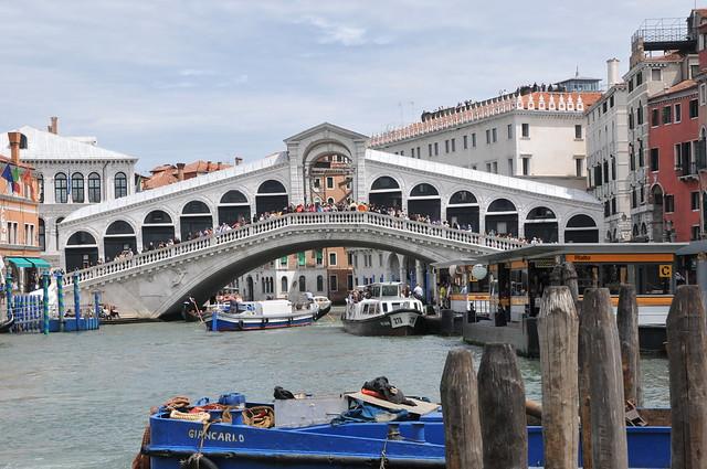 The Rialto Bridge on the Canal Grande in Venice Italy