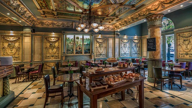 Georgina Ingham | Culinary Travels a Guide to Cork, Ireland - Lafayettes Brasserie located in the Imperial Hotel is an art deco dream, beautiful, intricate high ceilings, marbel floors, and outstanding customer service. A great place to relax and enjoy a coffe, tea or mineral (Irish for a soft drink/soda)