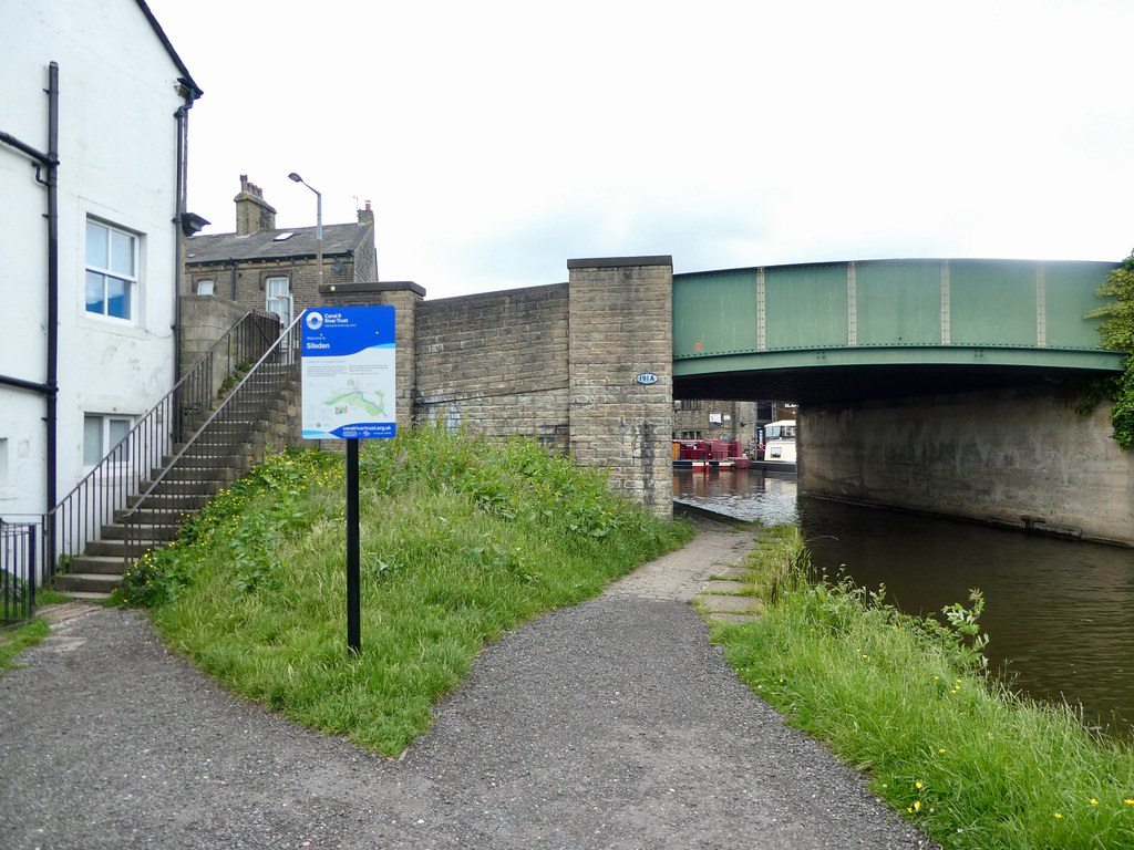 Access steps to Leeds Liverpool canal in Silsden