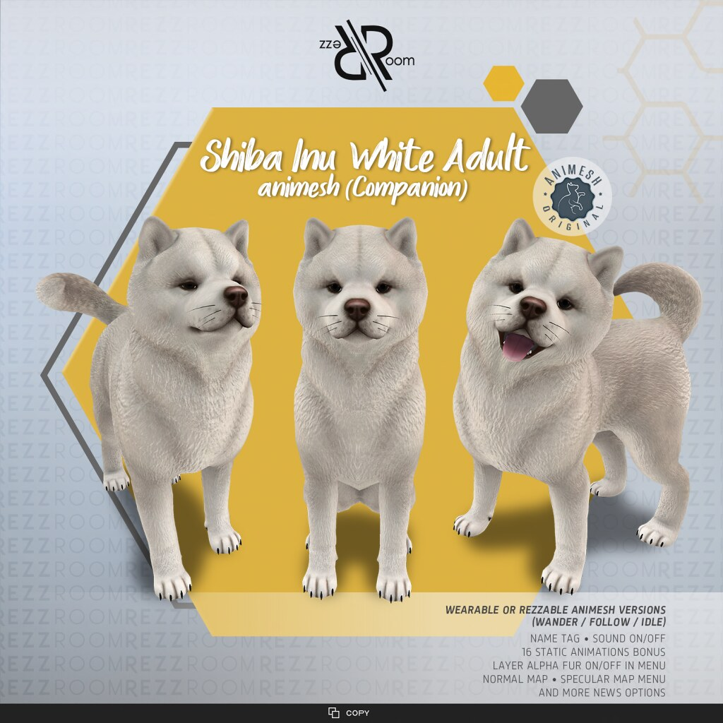 [Rezz Room] Shiba Inu Adult White Animesh (Companion)