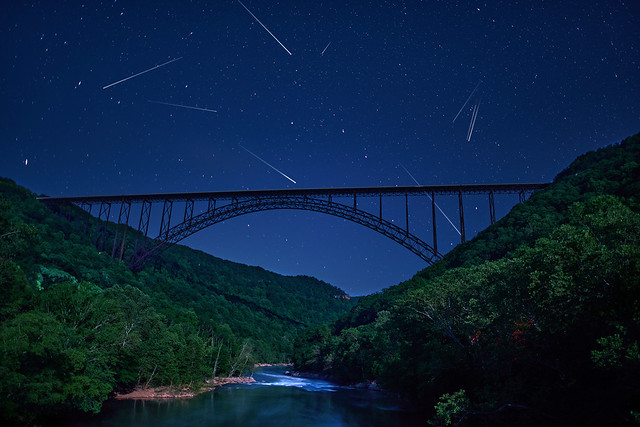 Shooting Stars over the New River Gorge Bridge