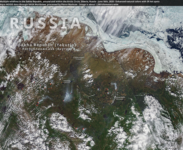 Multiple wildfires in the Sakha Republic, around and within the Arctic Circle, Siberia, Russia - June 16th, 2020