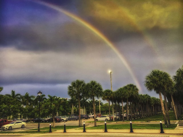 Rainbow over Sawgrass Mills Mall in Sunrise, Florida