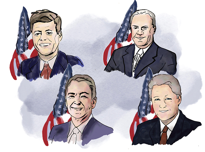Colored portrait illustrations of President Kennedy, President Reagan, President Ford, and President Clinton.