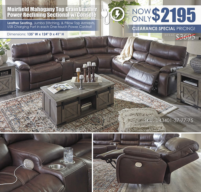 Muirfield Mahogany Power Reclining Sectional_U43401