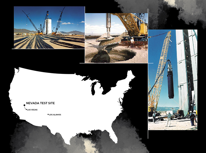 Picutres of the Nevada Test Site and the Nevada Test Site's location within the United States.