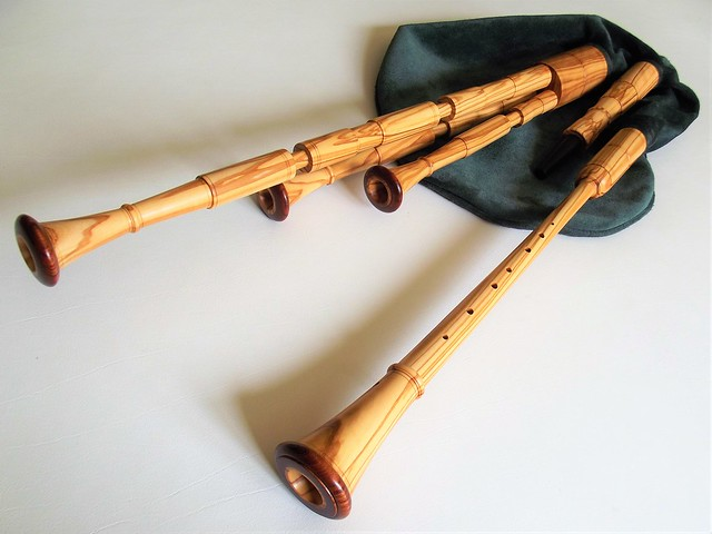 Scottish Smallpipes in A, alternative design made of olivewood