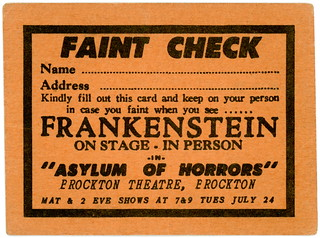 Faint Check, Asylum of Horrors Show with Frankenstein, Brockton, Massachusetts, July 24, 1951 | by Alan Mays