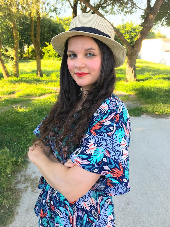 look-robe-imprimes-chapeau-paille-baskets-nike-air-max-90-blog-mode-la-rochelle-2