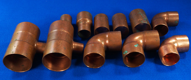 RD17477 10 Pcs Vintage NIBCO & EPC Copper Plumbing Pipes, Tee
