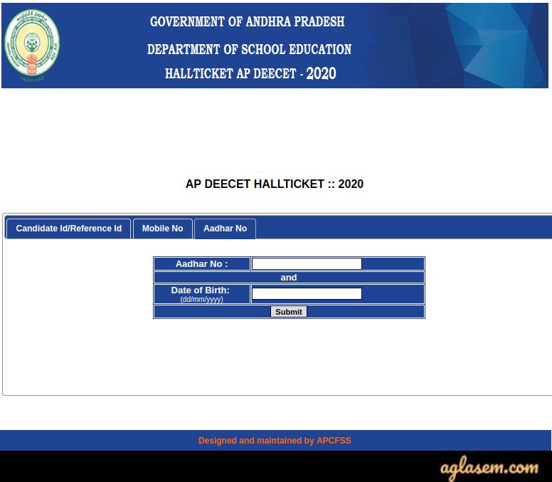 AP DEECET 2020 Hall Ticket by Aadhar Number
