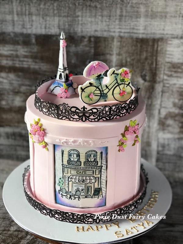 Paris Themed Cake by Pixie Dust Fairy Cakes