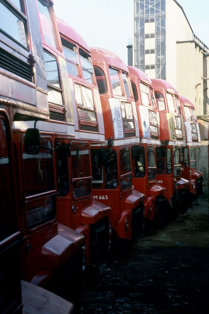 RM663 (WLT 663), RM103 (VLT 103) and four other Routemasters in storage at Aldenham Works