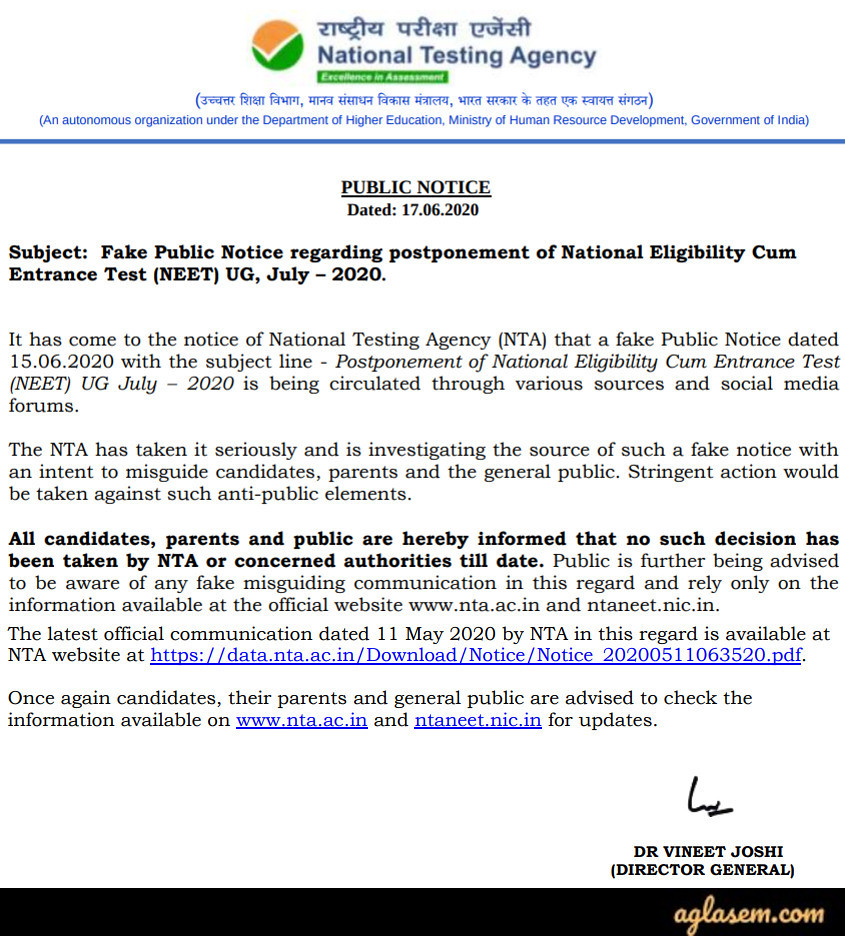 Fake Public Notice Regarding Postponement of NEET 2020