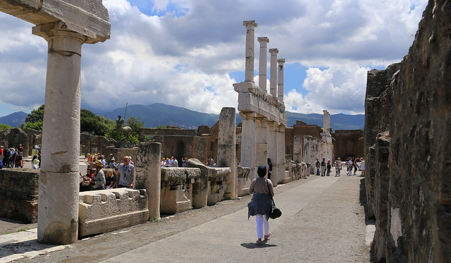 Kanitha walking in the heart of the Roman town Pompeii