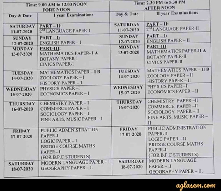 AP Intermediate Supplementary Time Table 2020