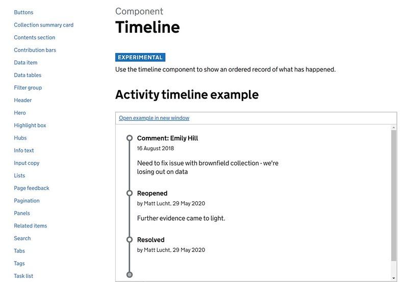 Timeline component on the Digital Land website