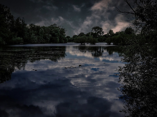 landscape nature lake water trees night sky clouds reflections ripples stars mystery darkness mood atmosphere edit process postprocess mobile phone app ai