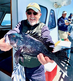 Photo of man holding a black sea bass