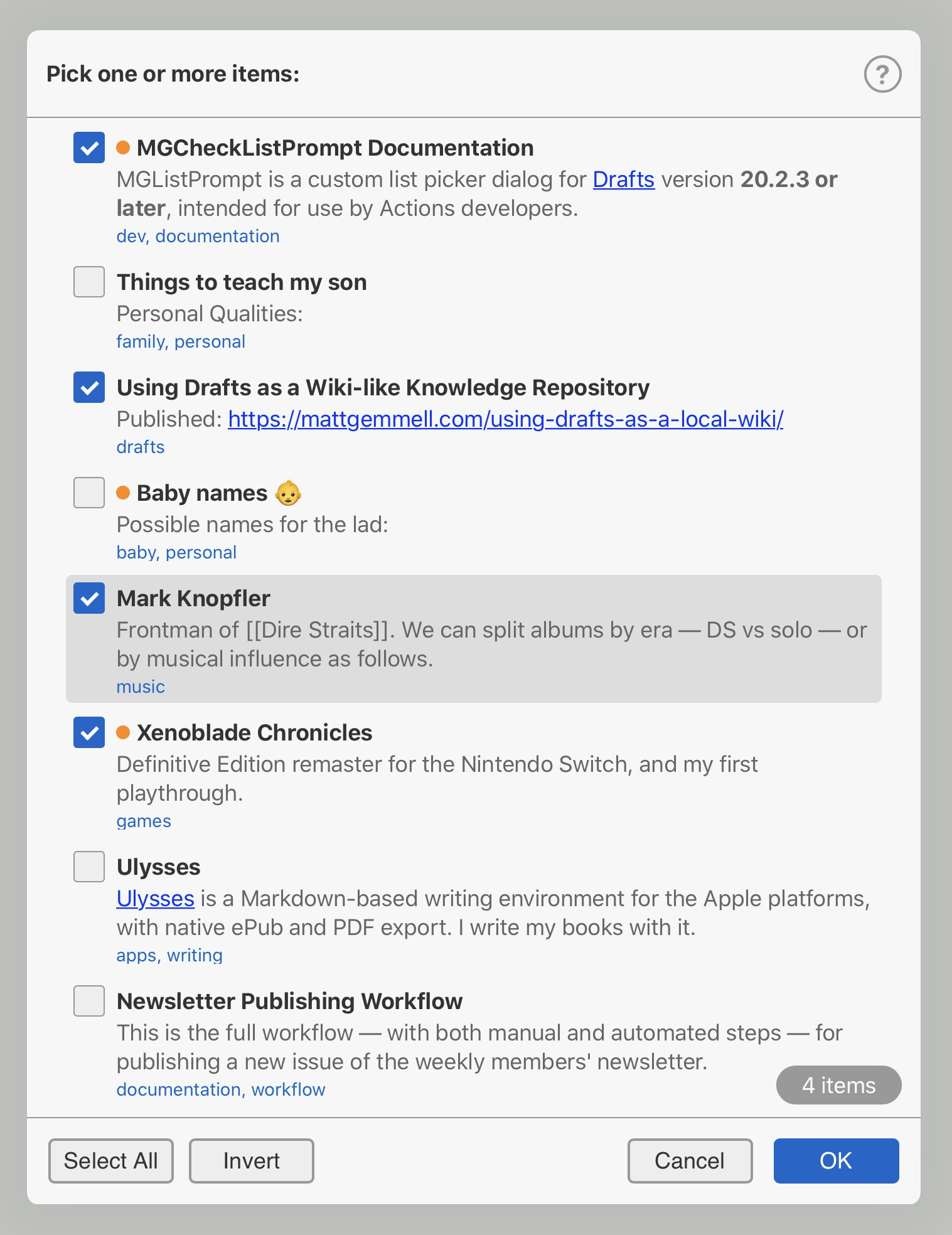 MGCheckListPrompt on iPad