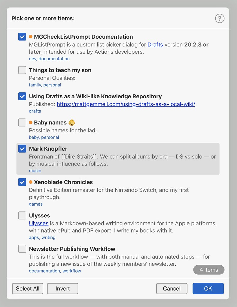 MGCheckListPrompt on iPad, light mode.