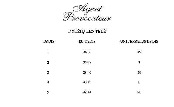 Agent Provocateur dydžių lentelė