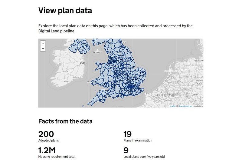 "Local plans alpha prototype: ""View plans data"" web page"