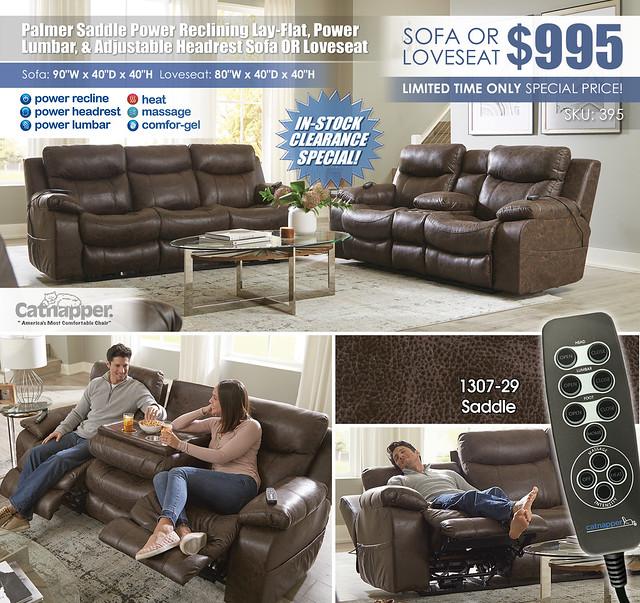Palmer Saddle Power Reclining Sofa OR Loveseat Catnapper_395