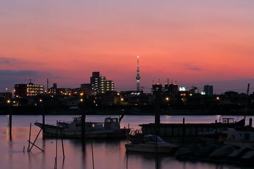 tokyoskytree ichikawa kyuedoriver river water sky skytree tower chiba japan sunset magichour goldenhour
