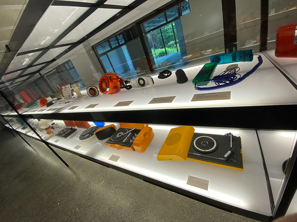 Some of the record players and phones on display at ADAM Museum