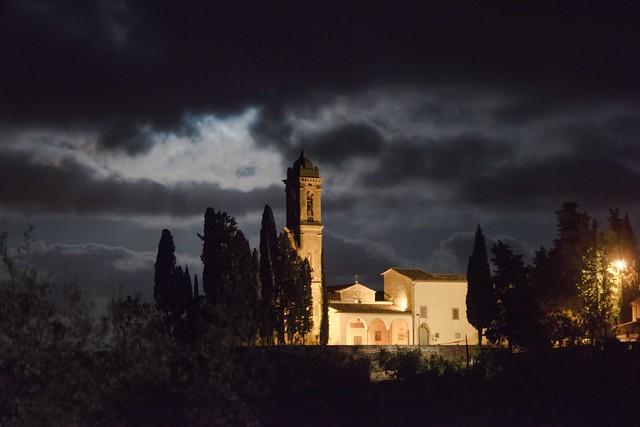 Full moon, church at Tavarnelle, Tuscany - Chiesa della Pieve